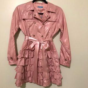 NWT dusty pink mauve ruffled raincoat jacket 14